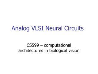 Analog VLSI Neural Circuits