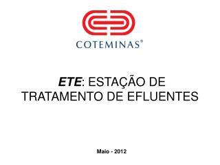 ETE : ESTAÇÃO DE TRATAMENTO DE EFLUENTES
