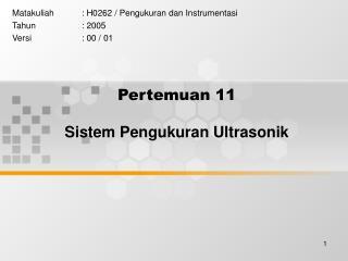Pertemuan 11 Sistem Pengukuran Ultrasonik
