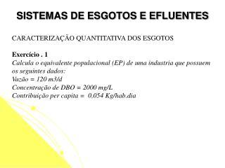 SISTEMAS DE ESGOTOS E EFLUENTES