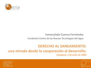 Inmaculada Cuenca Fernández Fundación Centro de las Nuevas Tecnologías del Agua