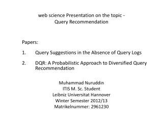 web science Presentation on the topic - Query Recommendation