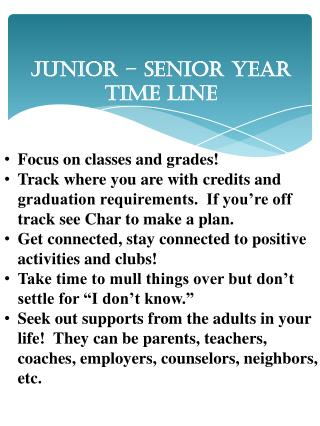 Junior – Senior Year Time Line