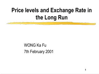 Price levels and Exchange Rate in the Long Run