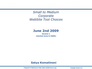Small to Medium Corporate WebSite Tool Choices