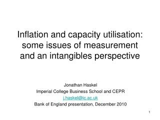 Inflation and capacity utilisation: some issues of measurement and an intangibles perspective