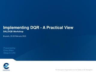 Implementing DQR - A Practical View DAL/DQR Workshop Brussels, 19-20 February 2013