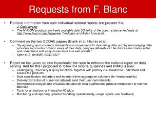 Requests from F. Blanc