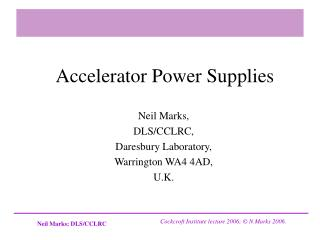 Accelerator Power Supplies