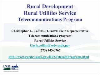 Rural Development Rural Utilities Service Telecommunications Program