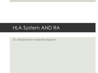 HLA System AND RA