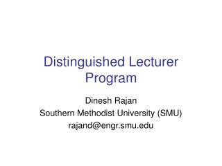 Distinguished Lecturer Program