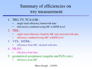 Summary of efficiencies on ppg  measurement
