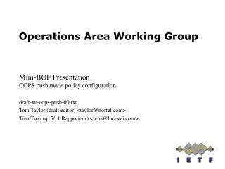 Operations Area Working Group