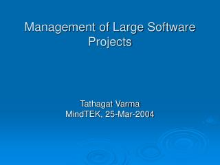 Management of Large Software Projects
