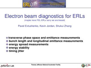 transverse phase space and emittance measurements