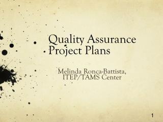 Quality Assurance Project Plans