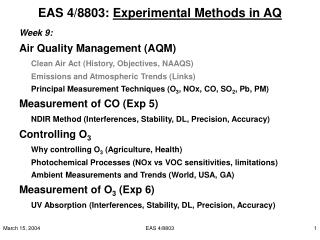 EAS 4/8803:  Experimental Methods in AQ