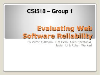 Evaluating Web Software Reliability