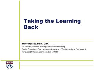 Taking the Learning Back