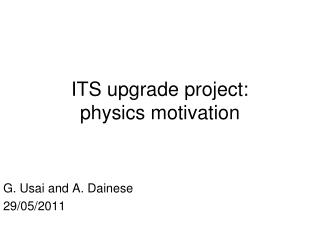 ITS upgrade project:  physics motivation