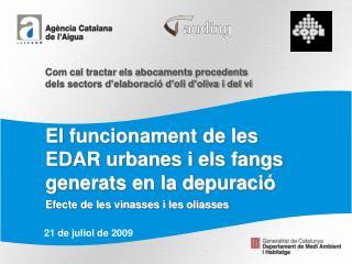 El funcionament de les EDAR urbanes i els fangs generats en la depuració