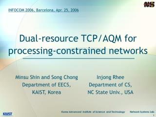 Dual-resource TCP/AQM for processing-constrained networks