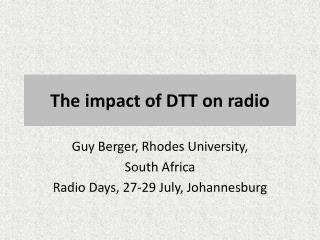 The impact of DTT on radio