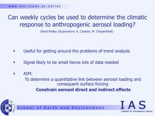 Can weekly cycles be used to determine the climatic response to anthropogenic aerosol loading?