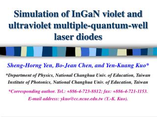 Simulation of InGaN violet and ultraviolet multiple-quantum-well laser diodes