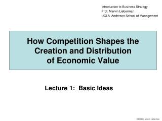 How Competition Shapes the Creation and Distribution  of Economic Value