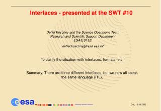 Interfaces - presented at the SWT #10