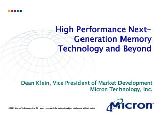 High Performance Next­Generation Memory Technology and Beyond