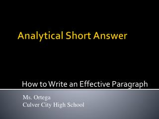 Analytical Short Answer