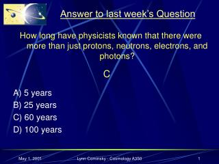 Answer to last week's Question
