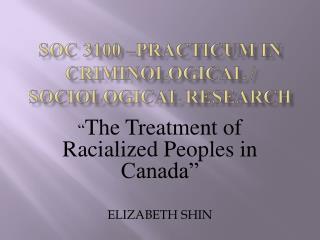 SOC 3100 –Practicum in Criminological / sociological research