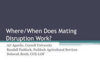 Where/When Does Mating Disruption Work?