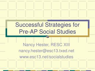 Successful Strategies for Pre-AP Social Studies