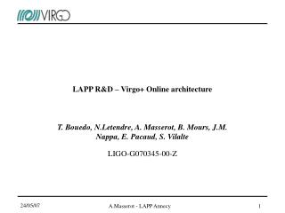 LAPP R&D – Virgo+ Online architecture