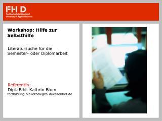 Workshop: Hilfe zur Selbsthilfe