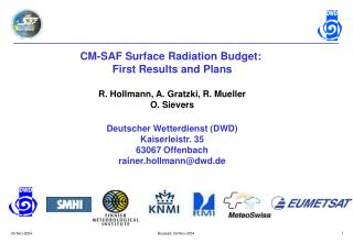 CM-SAF Surface Radiation Budget:  First Results and Plans R. Hollmann, A. Gratzki, R. Mueller