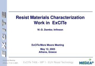 Resist Materials Characterization Work in  ExCITe  W.-D. Domke; Infineon