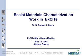 Resist Materials Characterization Work in  ExCITe  W.-D. Domke; Infineon