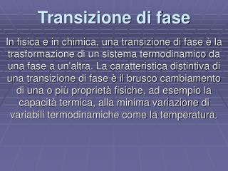 Transizione di fase