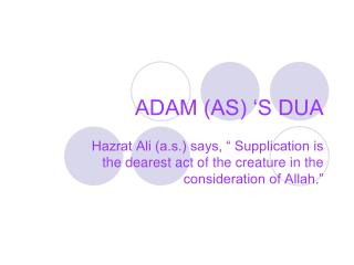 ADAM (AS) 'S DUA