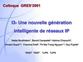 Colloque  GRES'2001