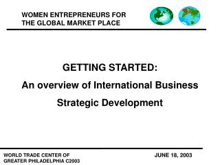 GETTING STARTED: An overview of International Business  Strategic Development