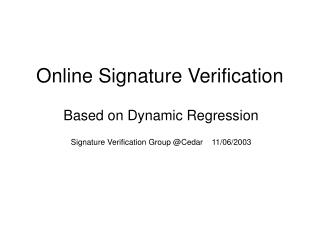 Online Signature Verification