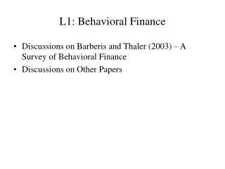 L1: Behavioral Finance