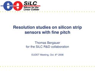 Resolution studies on silicon strip sensors with fine pitch